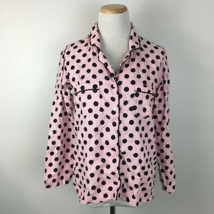 Victoria's Secret Women's Pink Polka Dot Button Up